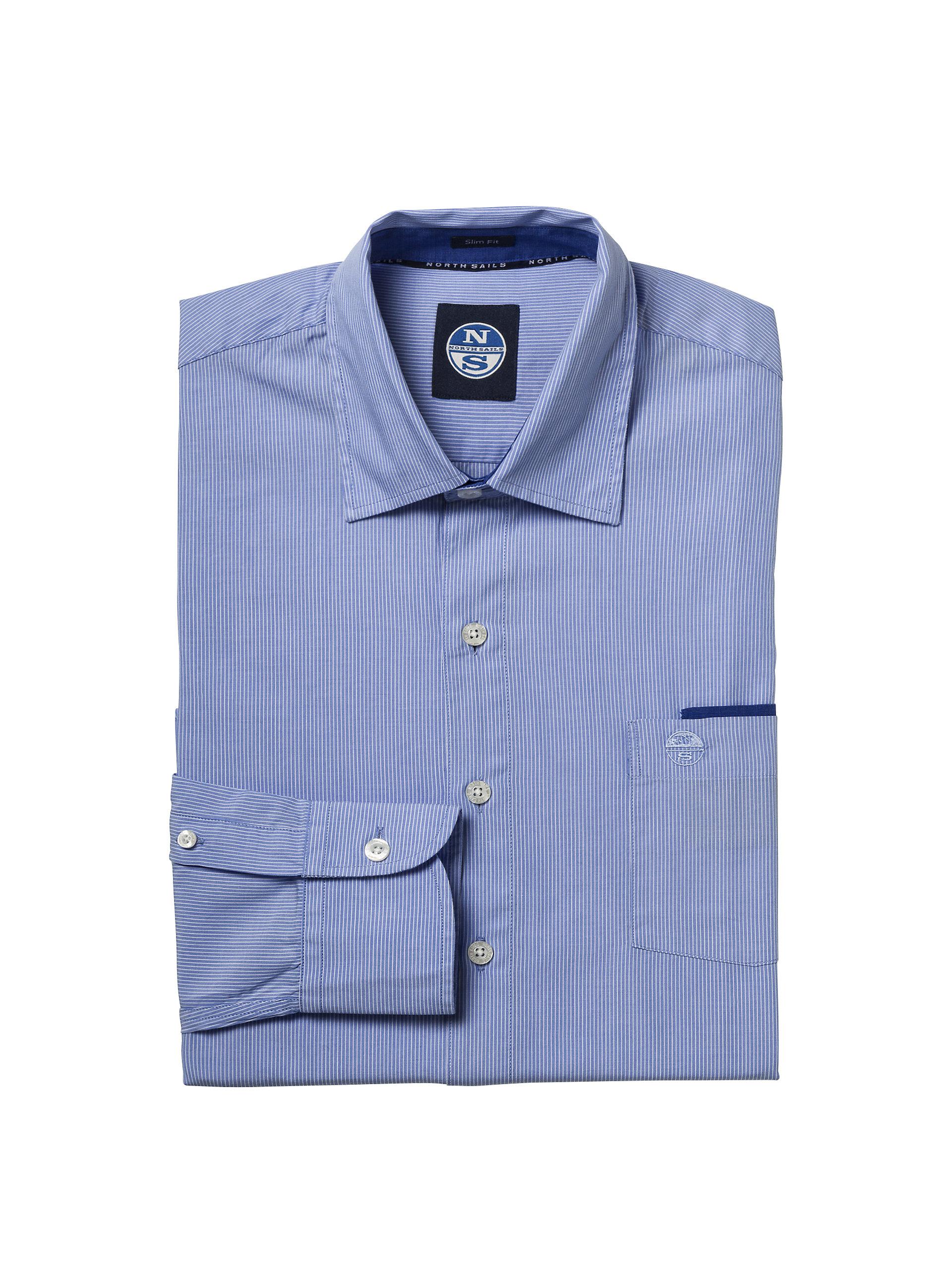 North Sails Mens Slim Poplin Striped Long-Sleeved Shirt Enzyme Washed