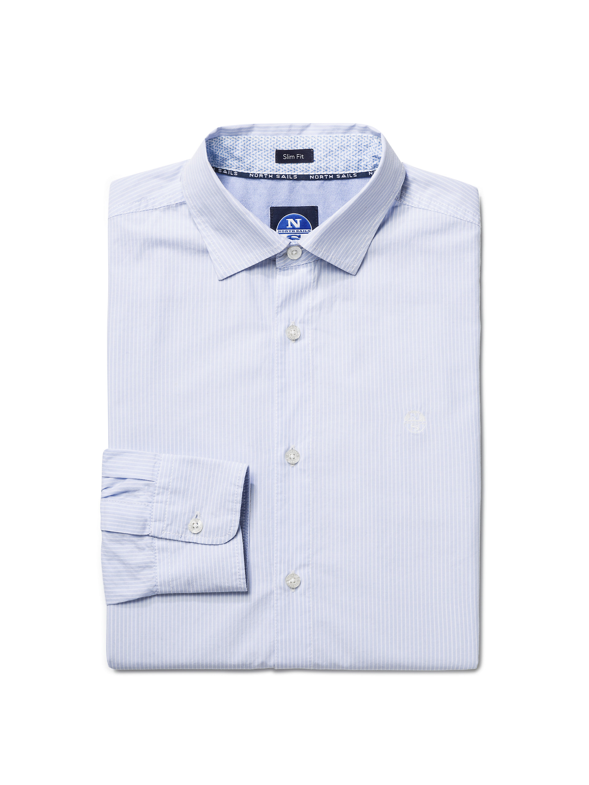 North Sails Mens Poplin Long-Sleeved Button-Down Shirt with Stripes Slim Fit