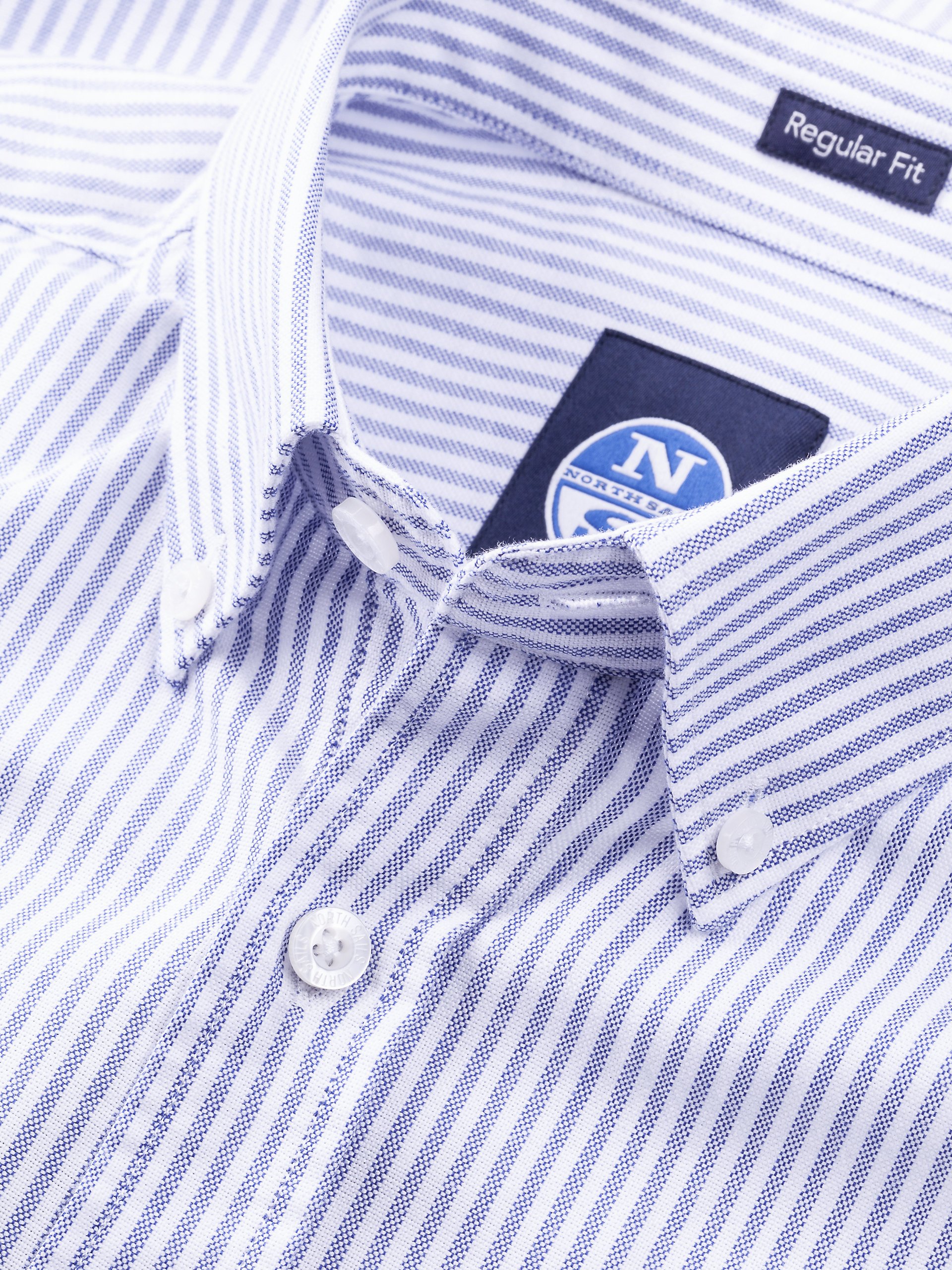 North North North Sails Herren B.D Baumwolle Langarmhemd Mit Logo Und Streifen | Verkaufspreis  582856