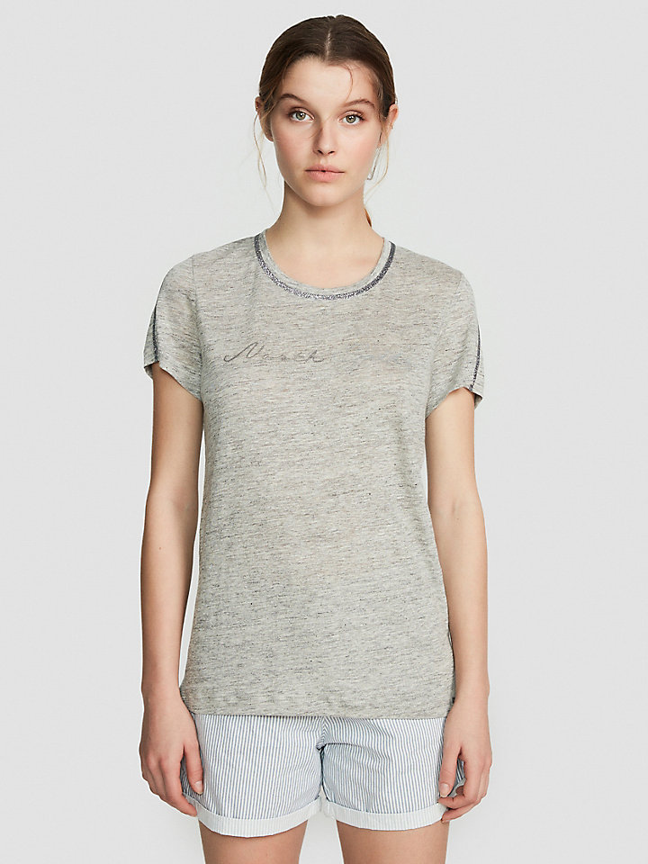 Linen And Lurex T-Shirt