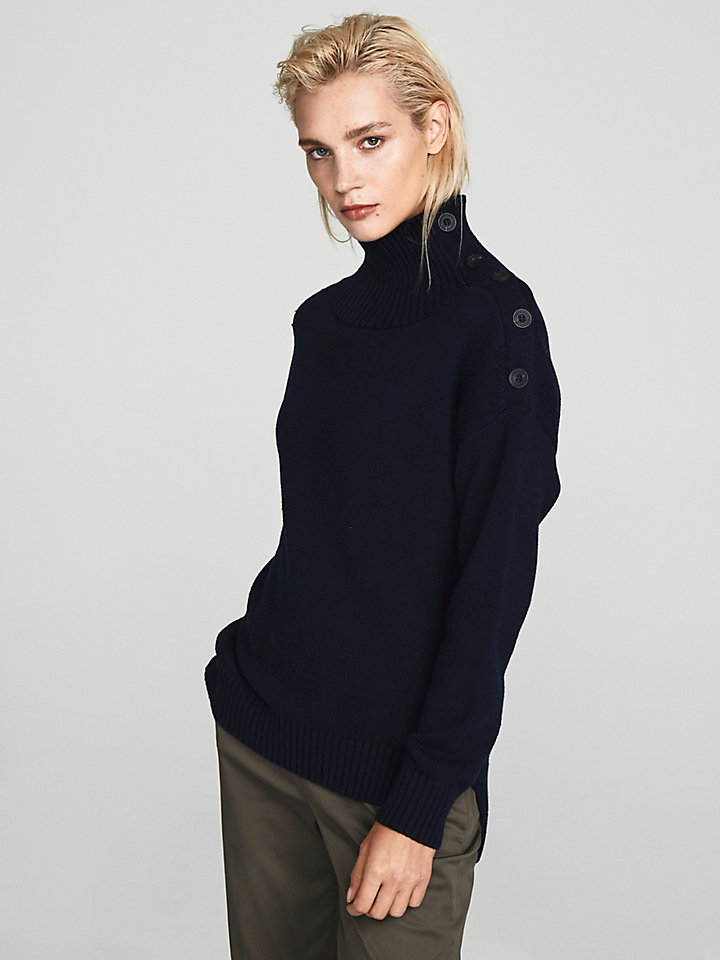 Button Detail Turtle Neck