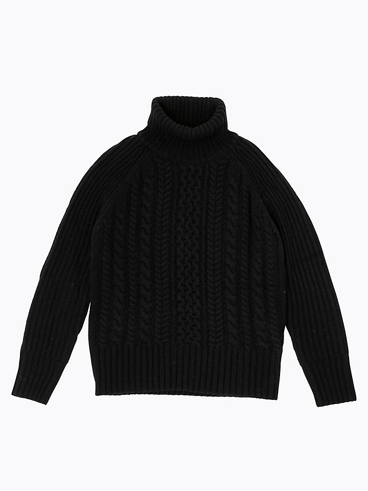 Cable-Knit Turtle Neck Jumper