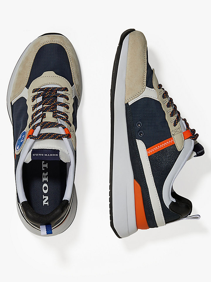 Nylon And Leather Running Sneakers