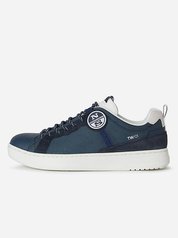 Canvas and suede sneakers