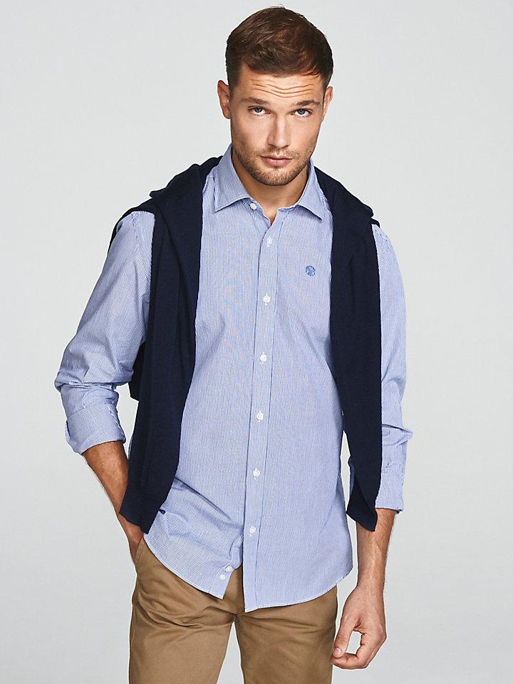 Gestreept popeline overhemd