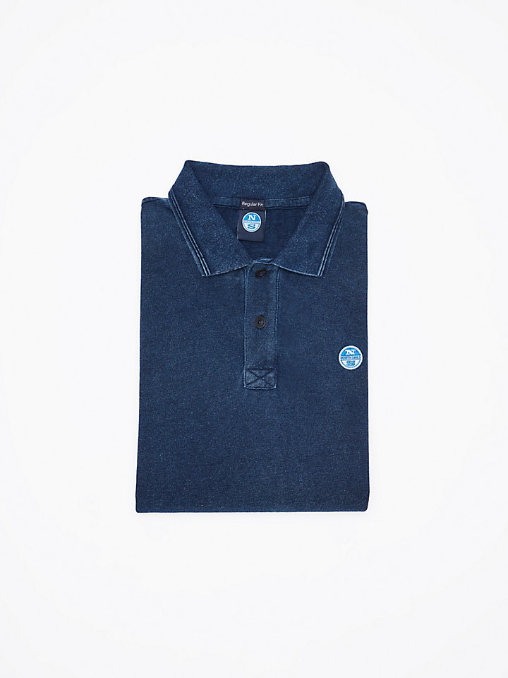 Indigo-Dyed Cotton Polo