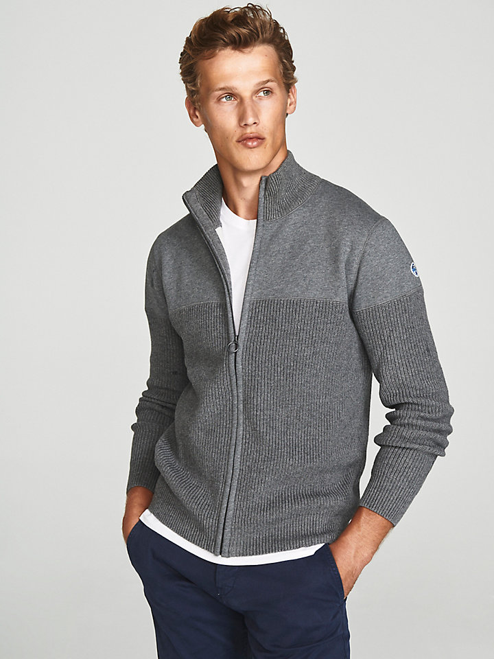 Cardigan In Wool And Jersey