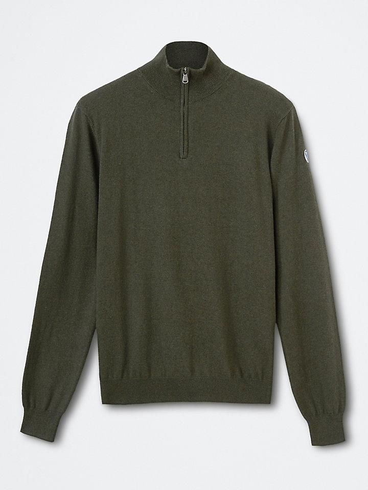 Katoenen trui met halve rits