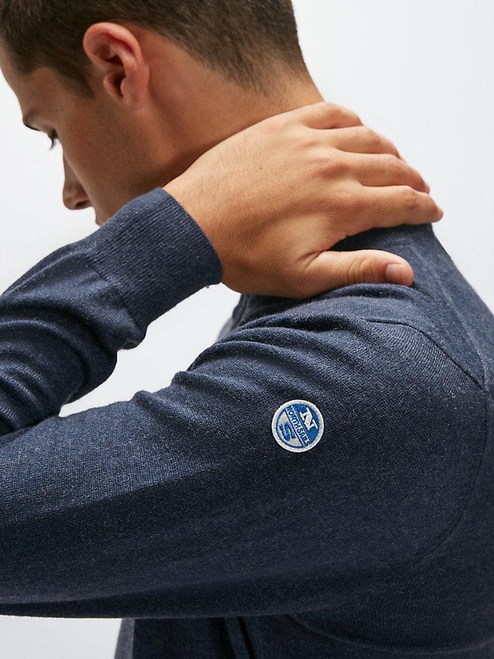 Pull en coton partiellement zippé