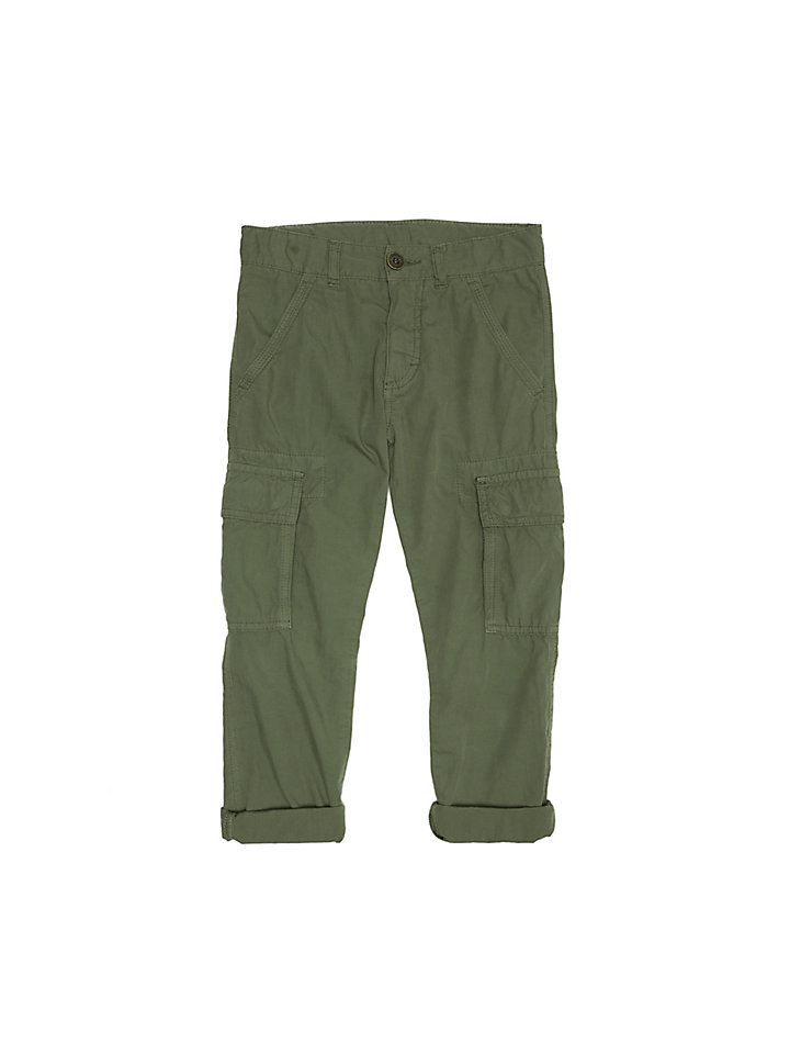 Cotton Poplin Cargo Trousers