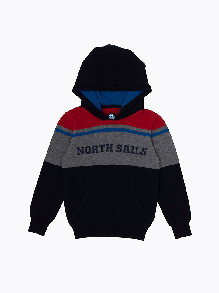 Colour-Block Hooded Jumper
