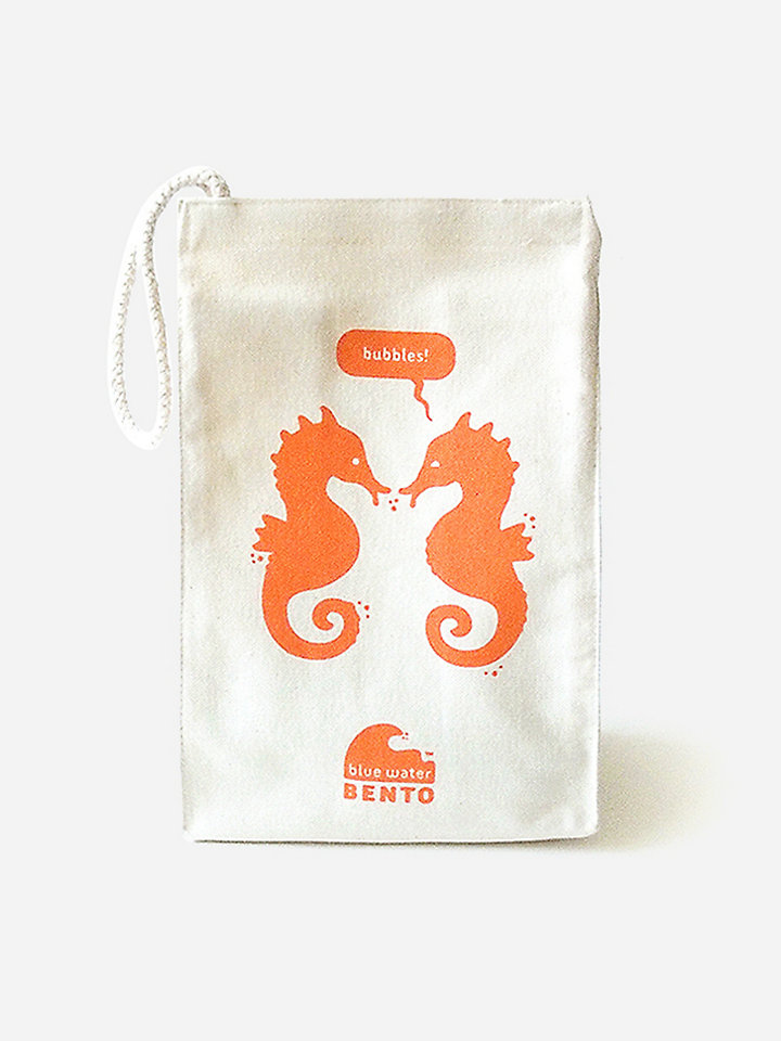 ecolunchbox blue water bento lunchbag seahorse