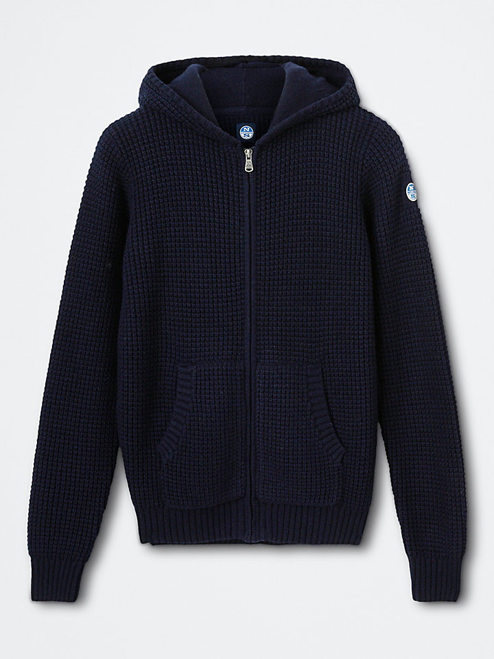 Cotton-Wool Blend Hooded Cardigan
